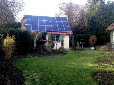 Solar roof on a small house