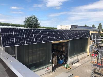 Solar roof on the warehouse